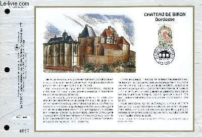 FEUILLET ARTISTIQUE PHILATELIQUE - CEF - N° 1094 - CHATEAU DE BIRON DORDOGNE