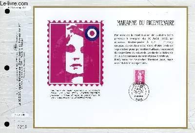 FEUILLET ARTISTIQUE PHILATELIQUE - CEF - N° 1099 - MARIANNE DU BICENTENAIRE