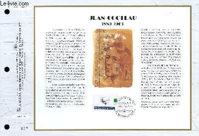 FEUILLET ARTISTIQUE PHILATELIQUE - CEF - N° 1123 - JEAN COCTEAU 1889-1963