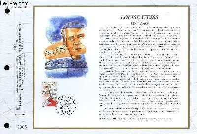 FEUILLET ARTISTIQUE PHILATELIQUE - CEF - N° 1129 - LOUISE WEISS 1893-1983