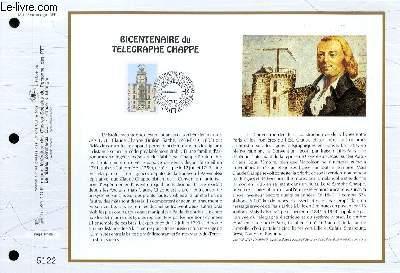 FEUILLET ARTISTIQUE PHILATELIQUE - CEF - N° 1136 - BICENTENAIRE DU TELEGRAPHE CHAPPE