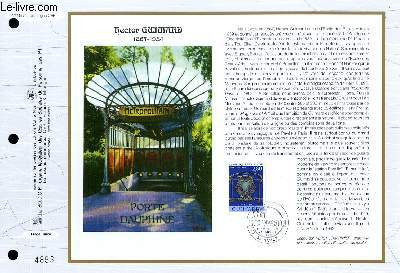 FEUILLET ARTISTIQUE PHILATELIQUE - CEF - N° 1157 - HECTOR GUJMARD 1867-1934