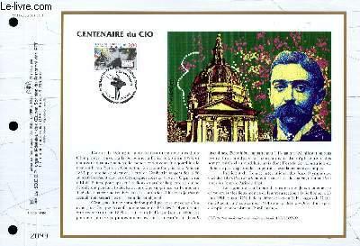 FEUILLET ARTISTIQUE PHILATELIQUE - CEF - N° 1178 - CENTENAIRE DU CIO