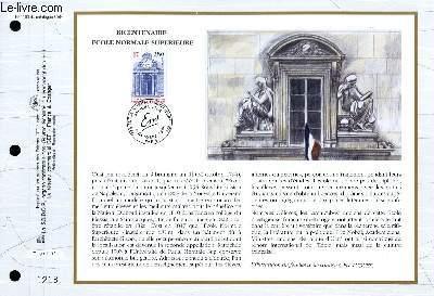 FEUILLET ARTISTIQUE PHILATELIQUE - CEF - N° 1193 - BICENTENAIRE ECOLE NORMALE SUPERIEURE