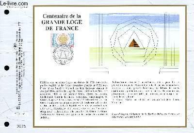 FEUILLET ARTISTIQUE PHILATELIQUE - CEF - N° 1197 - CENTENAIRE DE LA GRANDE LOGE DE FRANE