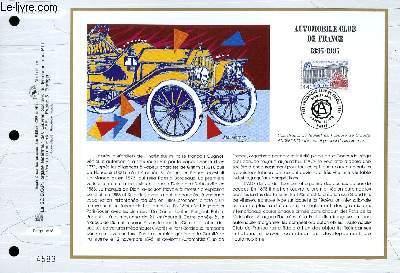 FEUILLET ARTISTIQUE PHILATELIQUE - CEF - N° 1243 - AUTOMOBILE CLUB DE FRANCE 1895-1995