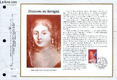 FEUILLET ARTISTIQUE PHILATELIQUE - CEF - N� 1262 - MADAME DE SEVIGNE
