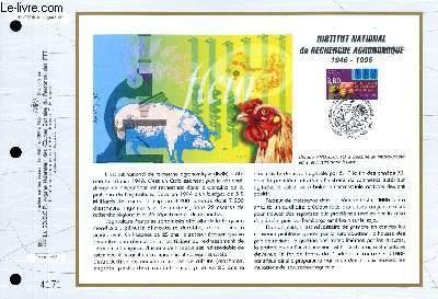 FEUILLET ARTISTIQUE PHILATELIQUE - CEF - N° 1263 - INSTITUT NATIONAL DE RECHERCHE AGRONOMIQUE 1946-1996