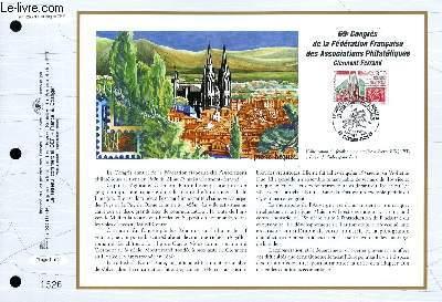 FEUILLET ARTISTIQUE PHILATELIQUE - CEF - N° 1266 - 69° CONGRES DE LA FEDERATION FRANCAISE DES ASSOCIATIONS PHILATELIQUES - CLERMONT-FERRAND