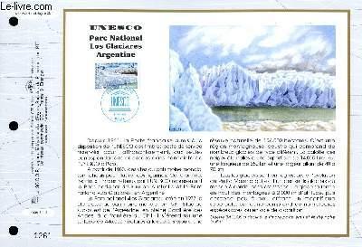 FEUILLET ARTISTIQUE PHILATELIQUE - CEF - N° 1269 - UNESCO PARC NATIONAL LOS GLACIARES ARGENTINE