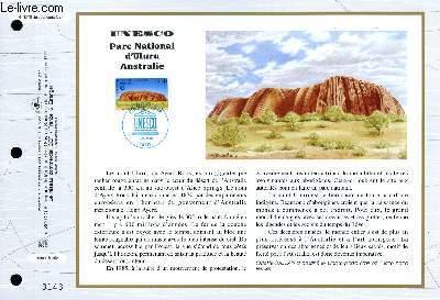 FEUILLET ARTISTIQUE PHILATELIQUE - CEF - N° 1270 - UNESCO - PARC NATIONAL D'ULURU AUSTRALIE