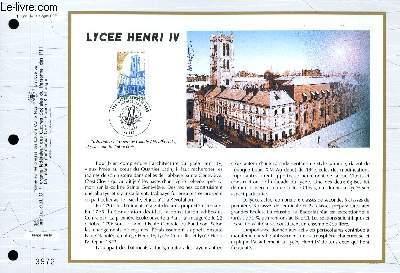 FEUILLET ARTISTIQUE PHILATELIQUE - CEF - N° 1291 - LYCEE HENRI IV
