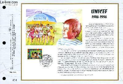 FEUILLET ARTISTIQUE PHILATELIQUE - CEF - N° 1292 - UNICEF 1946-1996
