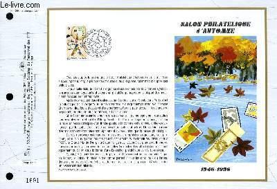 FEUILLET ARTISTIQUE PHILATELIQUE - CEF - N° 1295 - SALON PHILATELIQUE D'AUTOMNE 1946-1996