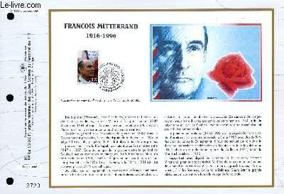 FEUILLET ARTISTIQUE PHILATELIQUE - CEF - N° 1302 - FRANCOIS MITTERAND 1916-1996