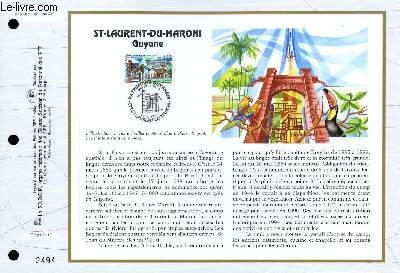 FEUILLET ARTISTIQUE PHILATELIQUE - CEF - N° 1308 - ST LAURENT DU MARONI - GUYANE