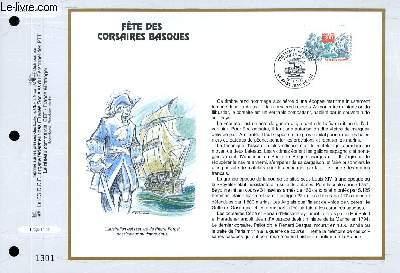 FEUILLET ARTISTIQUE PHILATELIQUE - CEF - N° 1332 - FETE DES CORSAIRES BASQUES