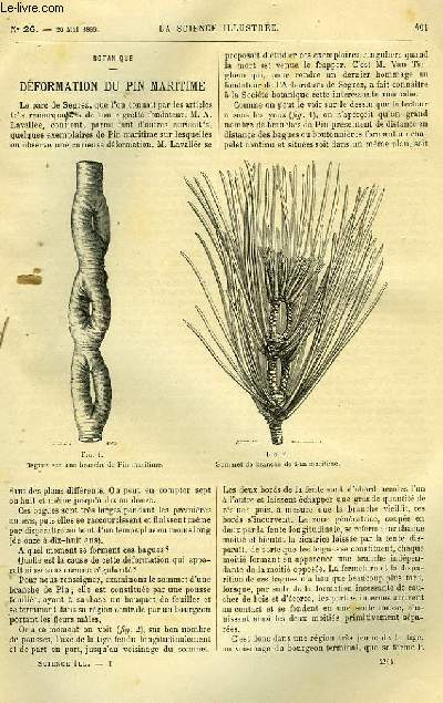 LA SCIENCE ILLUSTREE, TOME 1, NUMERO 26+ TABLE DES MATIERES