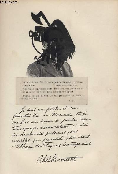 FIGURES CONTEMPORAINES tirées de l'Album Mariani. ABEL HERMANT (portrait censuré)