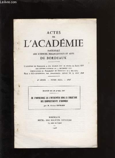 Actes de l'académie nationale des sciences, belles-lettres et arts de Bordeaux. De l'importance de l'ontogenèse dans la structure des comportements d'animaux.