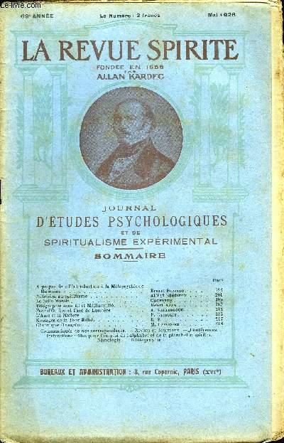 REVUE SPIRITE - JOURNAL D'ETUDES PSYCHOLOGIQUES