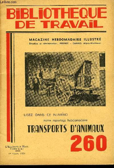 BIBLIOTHEQUE DE TRAVAIL N°260 - TRANSPORTS D'ANIMAUX