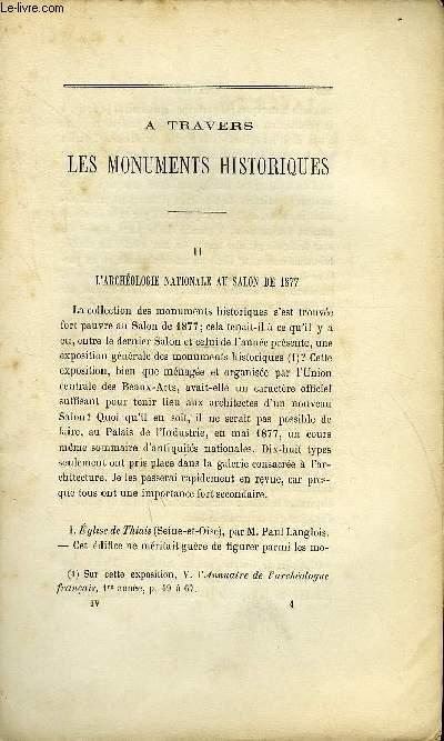 BULLETIN MONUMENTAL 5e SERIE, TOME 5, 43e COLLECTION N°4 - A TRAVERS LES MONUMENTS HISTORIQUES II - L'ARCHEOLOGIE NATIONALE AU SALON DE 1877 PAR A. SAINT-PAUL