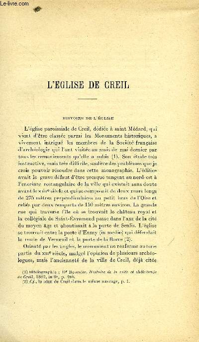 BULLETIN MONUMENTAL 79e VOLUME DE LA COLLECTION, N°3-4 - L'EGLISE DE CREIL PAR E. LEFEVRE-PONTALIS