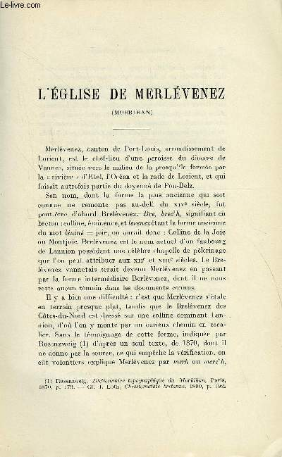 BULLETIN MONUMENTAL 86e VOLUME DE LA COLLECTION N°1-2 - L'EGLISE DE MERLEVENEZ (MORBIHAN) PAR ROGER GRAND
