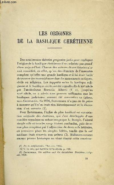 BULLETIN MONUMENTAL 86e VOLUME DE LA COLLECTION N°3-4 - LES ORIGINERS DE LA BASILIQUE CHRETIENNE PAR LOUIS BREHIER