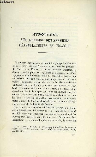 BULLETIN MONUMENTAL 88e VOLUME DE LA COLLECTION N°3-4 - HYPOTHESE SUR L'ORIGINE DES PREMIERS DEAMBULATOIRES EN PICARDIE PAR HANS REINHARDT
