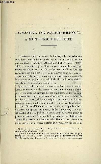 BULLETIN MONUMENTAL 90e VOLUME DE LA COLLECTION N°3-4 - L'AUTEL DE SAINT-BENOIT A SAINT-BENOIT-SUR-LOIRE PAR MARCEL AUBERT