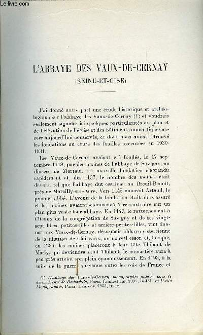 BULLETIN MONUMENTAL 92e VOLUME DE LA COLLECTION N°2 - L'ABBAYE DES VAUX-DE-CERNAY (SEINE-ET-OISE) PAR MARCEL AUBERT