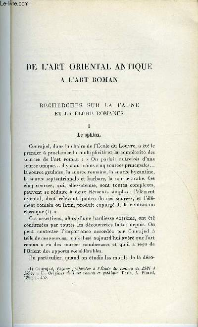 BULLETIN MONUMENTAL 94e VOLUME DE LA COLLECTION N°1 - DE L'ART ORIENTAL ANTIQUE A L'ART ROMAN - RECHERCHES SUR LA FAUNE ET LA FLORE ROMANES - LE SPHINX PAR DENISE JALABERT
