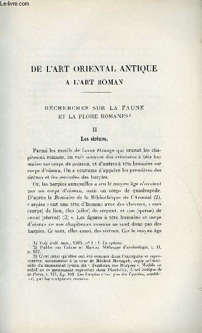 BULLETIN MONUMENTAL 95e VOLUME DE LA COLLECTION N°4 - DE L'ART ORIENTAL ANTIQUE A L'ART ROMAN - RECHERHCES SUR LA FAUNE ET LA FLORE ROMANES - II. LES SIRENES PAR DENISE JALABERT