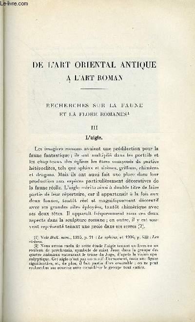 BULLETIN MONUMENTAL 97e VOLUME DE LA COLLECTION N°2 - DE L'ART ORIENTAL ANTIQUE A L'ART ROMAN - RECHERCHES SUR LA FAUNE ET LA FLORE ROMANES III. L'AIGLE PAR DENISE JALABERT