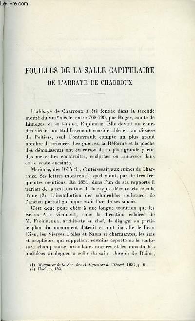 BULLETIN MONUMENTAL 109e VOLUME DE LA COLLECTION N°3 - FOUILLES DE LA SALLE CAPITULAIRE DE L'ABBAYE DE CHARROUX PAR FRANCOIS EYGUN