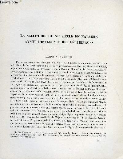 BULLETIN MONUMENTAL 113e VOLUME DE LA COLLECTION N°4 - LA SCULPTURE DU XIe SIECLE EN NAVARRE AVANT L'INFLUENCE DES PELERINAGES - LEIRE ET UJUE PAR GEORGES GAILLARD