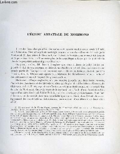 BULLETIN MONUMENTAL 114e VOLUME DE LA COLLECTION N°4 - L'EGLISE ABBATIALE DE MORIMOND PAR HENRI-PAUL EYDOUX