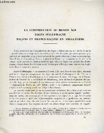 BULLETIN MONUMENTAL 116e VOLUME DE LA COLLECTION N°4 - LA CONSTRUCTION AU MOYEN AGE - LOGES D'ALLEMAGNE - MACONS ET FRANCS-MACONS EN ANGLETERRE PAR MARCEL AUBERT