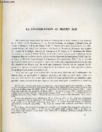 BULLETIN MONUMENTAL 118e VOLUME DE LA COLLECTION N°4 - LA CONSTRUCTION AU MOYEN AGE PAR MARCEL AUBERT