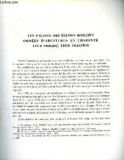 BULLETIN MONUMENTAL 119e VOLUME DE LA COLLECTION N°2 - LES FACADES DES EGLISES ROMANES ORNEES D'ARCATURES EN CHARENTE - LEUR ORIGINE, LEUR FILIATION PAR CHARLES DARAS