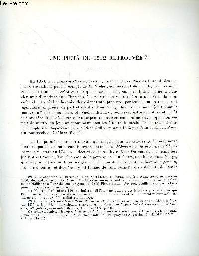 BULLETIN MONUMENTAL 120e VOLUME DE LA COLLECTION N°3 - UNE PIETA DE 1512 RETROUVEE PAR L. PRESSOUYRE
