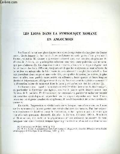 BULLETIN MONUMENTAL 123e VOLUME DE LA COLLECTION N°2 - LES LIONS DANS LA SYMBOLIQUE ROMANE EN ANGOUMOIS PAR CHARLES DARAS