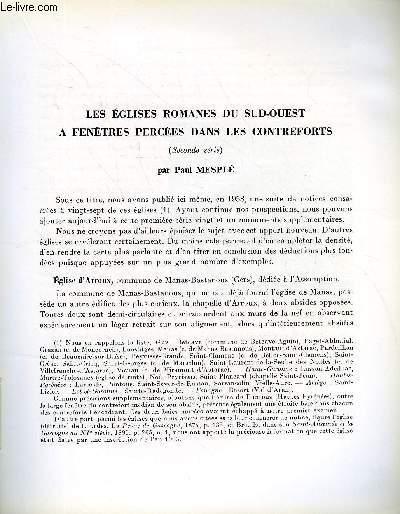 BULLETIN MONUMENTAL 124e VOLUME DE LA COLLECTION N°3 - LES EGLISES ROMANES DU SUD-OUEST A FENETRES PERCEES DANS LES CONTREFORTS (SECONDE SERIE) PAR PAUL MESPLE