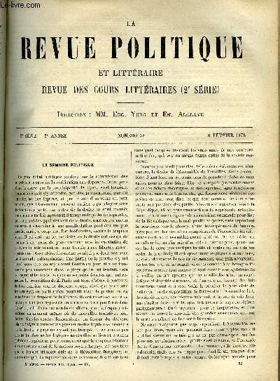LA REVUE POLITIQUE ET LITTERAIRE 2e ANNEE - 2e SEMESTRE N°32 - REVUE DIPLOMATIQUE - LES LOIS CONFESSIONNELLES EN PRUSSE, COLLEGE DE FRANCE - LA NATURE ET LA PHILOSOPHIE EXPERIMENTALE PAR CH. LEVEQUE, LITTERATURE ETRANGERE - LES DERNIERS TRAVAUX