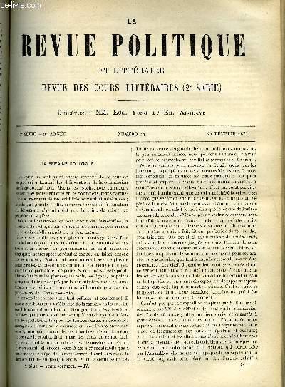 LA REVUE POLITIQUE ET LITTERAIRE 2e ANNEE - 2e SEMESTRE N°34 - REVUE DIPLOMATIQUE - LA REVOLUTION ESPAGNOLE, FACULTE DES LETTRES DE CAEN - NOS ALLIES DE LA CONFEDERATION DU RHIN EN 1806 ET 1807 PAR ALFRED RAMBAUD, UNE VERSION NOUVELLE DU DELUGE