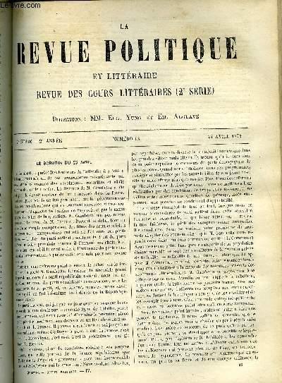 LA REVUE POLITIQUE ET LITTERAIRE 2e ANNEE - 2e SEMESTRE N°43 - LE SCRUTIN DU 27 AVRIL, INSTITUTION ROYALE DE LA GRANDE-BRETAGNE - LA PHILOSOPHIE DE LA MYTHOLOGIE PAR MAX MULLER, CONGRES DES SOCIETES SAVANTES - ETUDES SUR LES PAMPHLETS DE DANIEL DEFOE