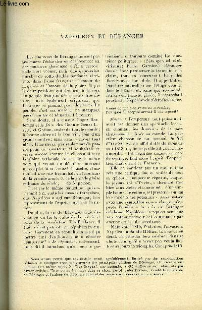 LE MONDE MODERNE TOME 6 - Napoléon et Béranger par Paul Crouzet