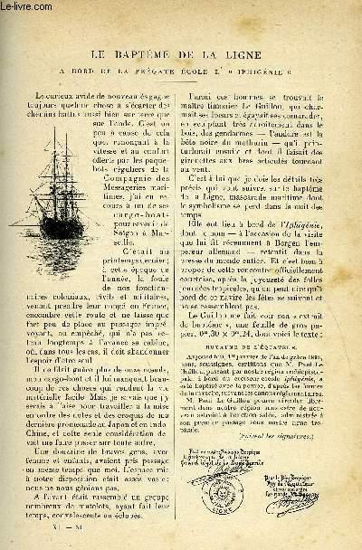 LE MONDE MODERNE TOME 11 - LE BATPEME DE LA LIGNE, A BORD DE LA FREGATE ECOLE L'